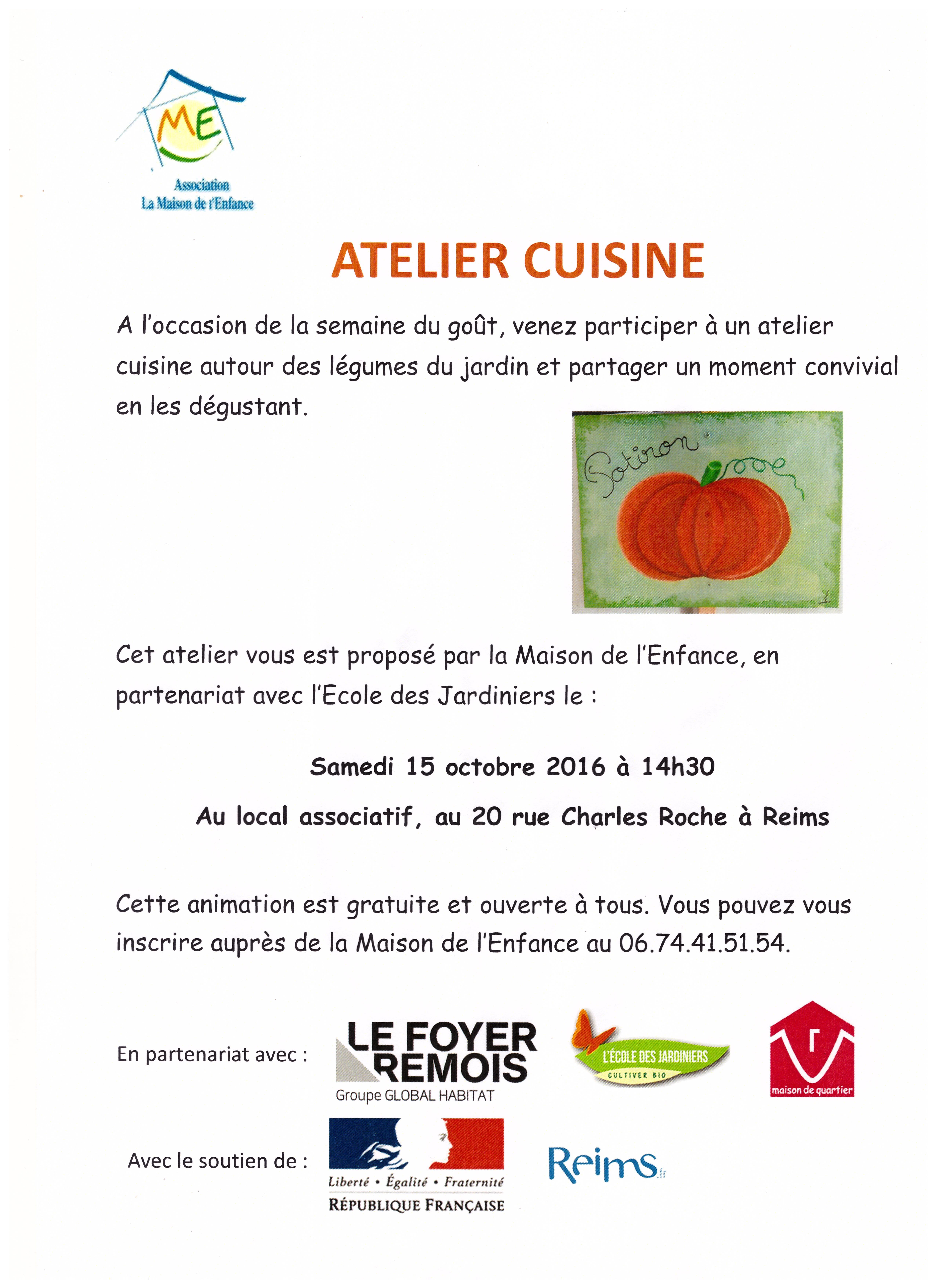 Atelier cuisine autour des l gumes du jardin le samedi 15 for Jardin 2000 reims tinqueux